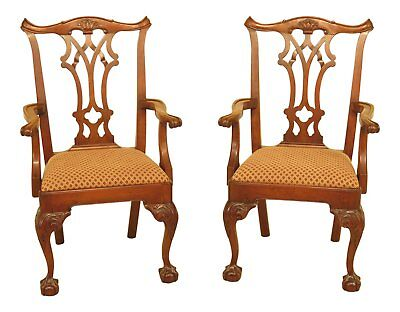 46585C: Pair STATTON Chippendale Cherry Ball & Claw Arm Chairs