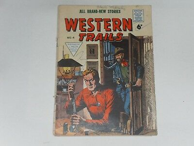 WESTERN TRAILS  #4  UK EDITION   L. MILLER & SON   28 PAGES  B & W   6d