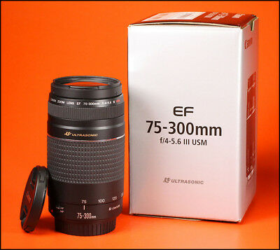 Canon EF 75-300mm III F4-5.6 Ultrasonic (USM) Zoom Lens + Front / Rear Cap & Box