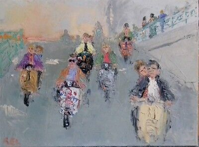mods-oil on canvas-original painting-The Who-quadrophenia-scooter