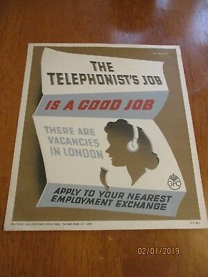 Telephone Box GPO Kiosk Original Number 30 Notice vintage telephonist's job
