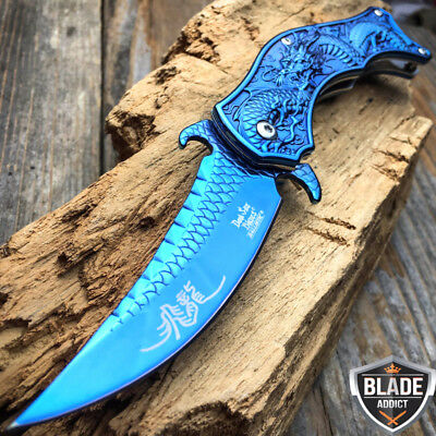"8"" DRAGON BLUE TACTICAL Spring Assisted Open Blade FOLDING POCKET KNIFE Fade -d"