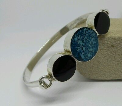 Beautiful Handmade Vintage Silver Metal Mexican Black Blue Stone Bangle Bracelet