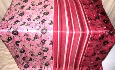 Pink Maroon Pure Silk 4 yd Vintage Sari Saree Varied Chic Marriage Best #9EIQJ
