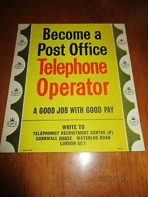 Telephone Box GPO Kiosk Original Number 30 Notice vintage telephone operator