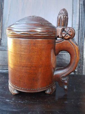 18th Century Norwegian Antique Treen Birchwood Peg Tankard, Dated 1780