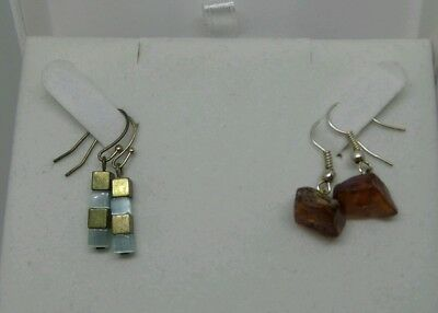 Two Pairs of Vintage French Costume Jewellery Amber Nugget Square Bead Earrings