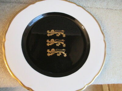 Vintage Shenango China Dinner Plate with 3 Tigers in Gold Cobalt Center