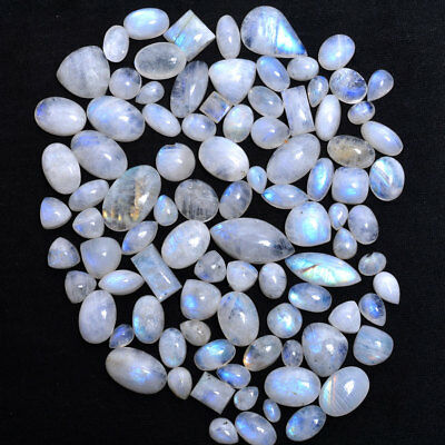 343 Cts/92 Pcs Finest Quality Natural Rainbow Shine Moonstone Cabochon Gemstones