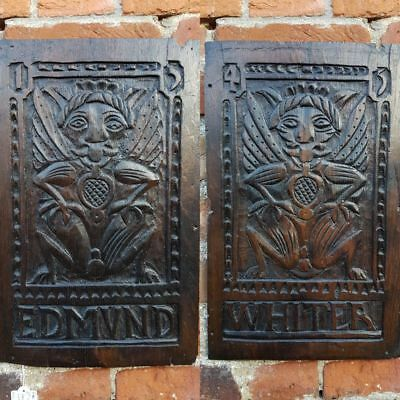Rare Pair of Mid 16thC English Antique Oak Carved Wooden Panels Dated 1545