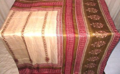 Cream Henna Pure Silk 4 yard Vintage Sari Saree Piece Varied Bargain Good #9EIRH