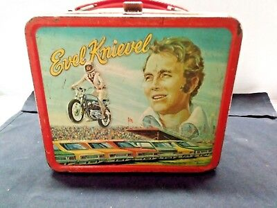 Evel Knievel LUNCH BOX  tin 1974 no thermos Motorcycle Daredevil