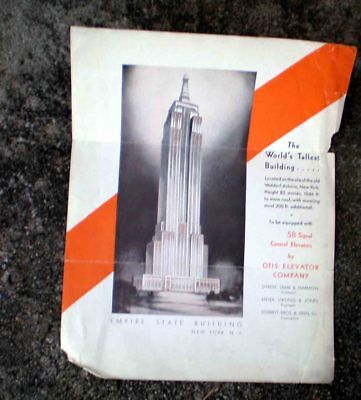 Otis Elevator -Empire State Building Nyc Large Flyer -Pre/during Construction