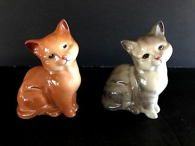 Vintage Royal Doulton Gray Striped and Tan Brown Cat Figurines