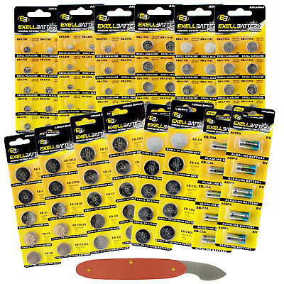 100pc Assorted Watch & Coin Cell Pack CR2032 CR2025 CR2016 A28PX AG13 AG4 + MORE