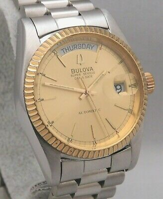 Bulova Super Seville Vintage 1980's Day/Date 2 Tone Mens Pre-Owned Watch....36mm