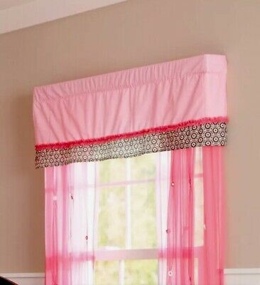 Summer Window Valance, Juliette, Pink & Black, NEW