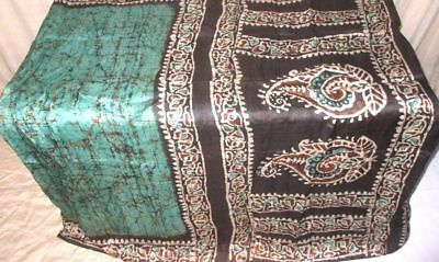 Pistachio Black Pure Silk 4 yd Vintage Sari Saree pictures London Sary NR #9EISG