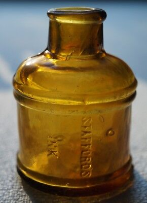 Colored Ink - Antique Dark Yellow Stafford's Spool Ink Bottle