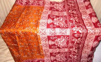 Golden Maroon Pure Silk 4 yard Vintage Sari Saree SALE DEAL Bollywood Hip #9EITQ