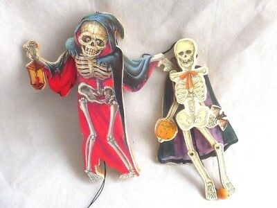 Vintage Halloween Pull String Wood Skeleton Ornaments Toys