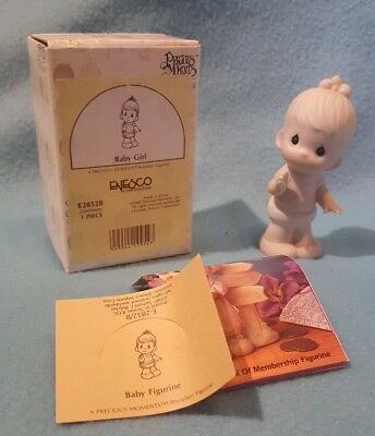 Precious Moments 1983 Baby Girl Figurine Standing w Bow E2852B Butterfly w Box
