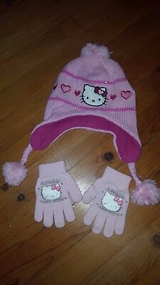 HELLO KITTY- LOT bonnet + gants fille hiver chaud rose BE•(lire ... e58f0a2db77