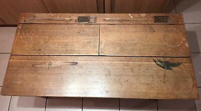 Antique school desk Dual Open Lid Drawers and Ink Wells