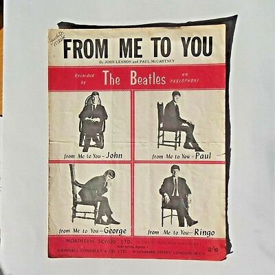 THE BEATLES: FROM ME TO YOU.   ORIG 1963 UK  SHEET MUSIC. Northern Songs Ltd.