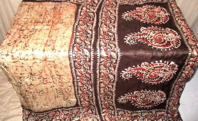 Cream Coffee Pure Silk 4 yard Vintage Sari Saree Pattern Patterns global #9EIUC