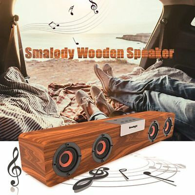 Smalody Hi-Fi Loud Speaker Wireless Bluetooth 5.0 Wooden FM Radio Super Bass US