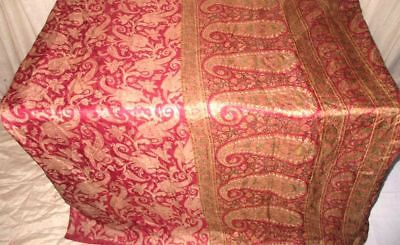 Cream Maroon Pure Silk 4 yd Vintage Antique Sari Saree engagement Mart US #9EIUP