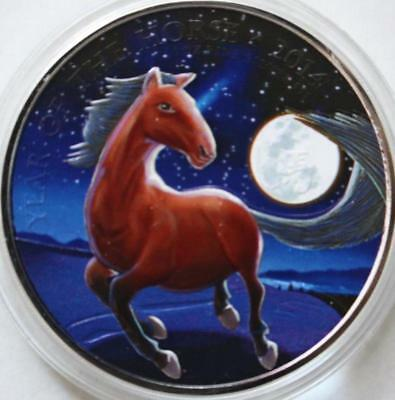 2014 1oz UK GREAT BRITAIN FINE SILVER LUNAR YEAR HORSE COLORIZED NIGHT Theme