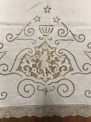 "Antique Linen Bed Sheet With Figural Lace Detail Edge, Beautiful! 68"" x 84"""