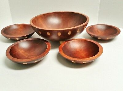 Baribocraft Canada Wood Eames Era Mid-Century Modern Atomic Salad Bowl Set  5 pc