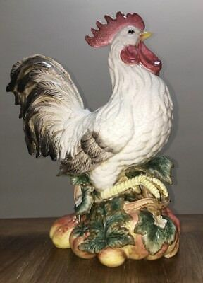 "Fitz and Floyd Crackled Italian Ceramic Rooster *GORGEOUS* 16"" Handpainted"