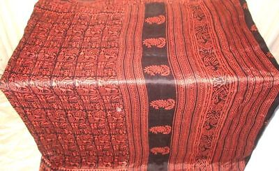 Peach Black Pure Silk 4 yd Vintage Sari Saree Pattern all time Casuals UK #9EIVM
