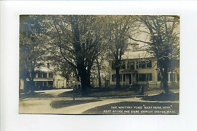 Shirley Center MA Mass RPPC real photo antique postcard, Post Office & Store