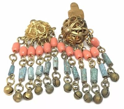 Antique Vintage Deco Egyptian Faience Mummy Bead Festoon Coin Dangle Earrings