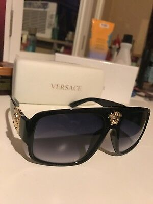 Versace Sunglasses Shades Black Gold NEW