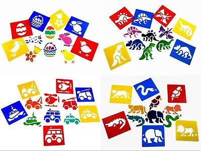 Kids Stencils Set For Kids Painting Drawing  15 Designs Dinosaur Sea Easter Bugs