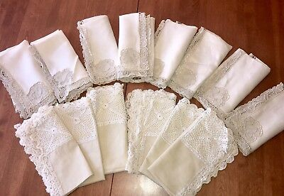 Lot Of 14 Vintage Linen Napkins With Cutwork & Embroidery