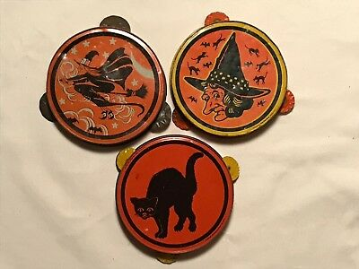 "Lot Of 3 Kirchhof ""life Of The Party"" Lithographed Tin Halloween Noisemakers"