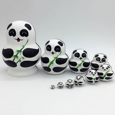 10Pcs Wooden Double-sided Panda Penguin Russian Dolls Craft Gift Nesting Doll AU