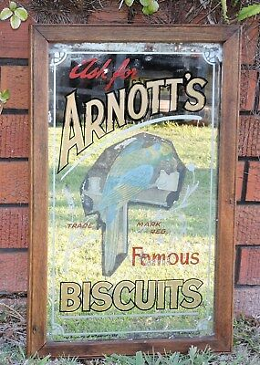 Vintage Advertising Shop Display Arnotts Biscuit Mirror signed  H.Rousel