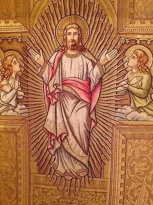 JESUS ANGEL Christian ANTIQUE Art Deco 1900s TAPESTRY HDMD SILK PAINTING