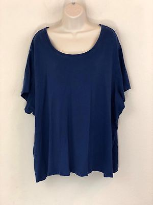 cafcc02ec3869 White Stag Womens Plus Size 5X Top O-Neck Dolman Sleeve Cotton Shirt Blue
