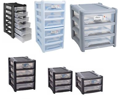 Plastic A4 Paper Size Shallow Drawer Tower Office Home Garage 2/3/4/6 Drawers