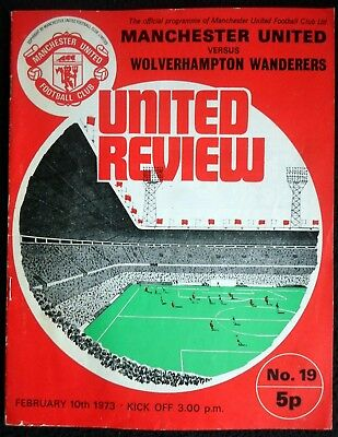 Manchester United v Wolverhampton Wanderers     10-2-1973       with token
