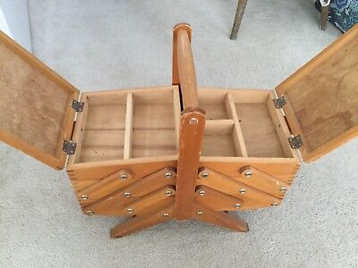Vintage Sewing Box Wooden 2 tier Cantilever